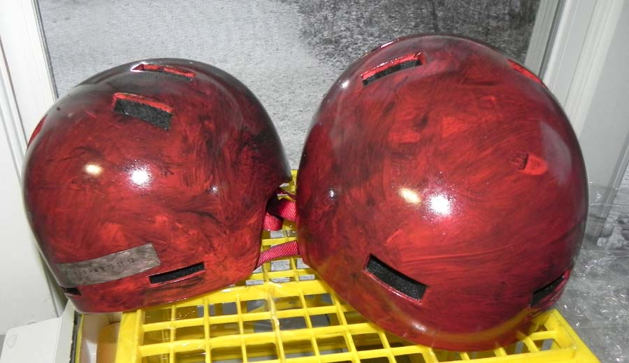 Helmet smeared with chain grease.